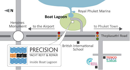 Map to Precision Shipwright Services and East Marine Chandlery in Boat Lagoon